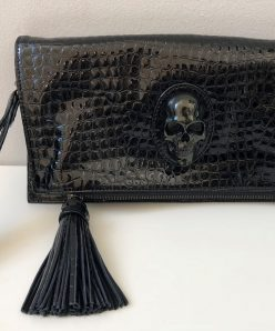 Panther Snake Ledertasche Clutch Black - Prison Art