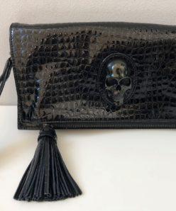 Panther Snake Ledertasche Clutch Black - Prison Art