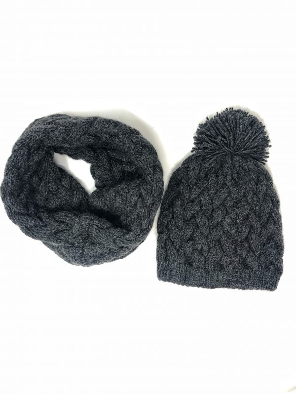 Haube-loop scarf-Alpaka set wollmütze, Woll scarf