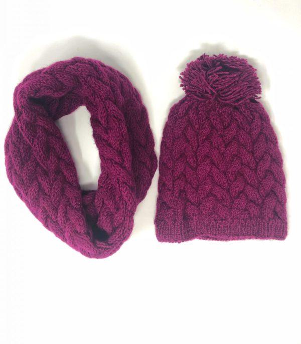 Haube-loop scarf-Alpaka set