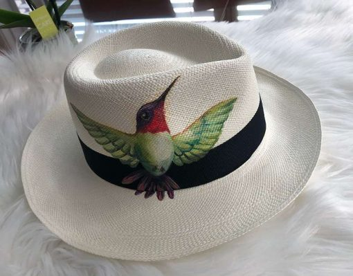 Orginal Panama-Hut | Stroh-Hut | Sommer-Hut aus Ecuador – Traditionell Handgeflochten. Motiv Kolibri